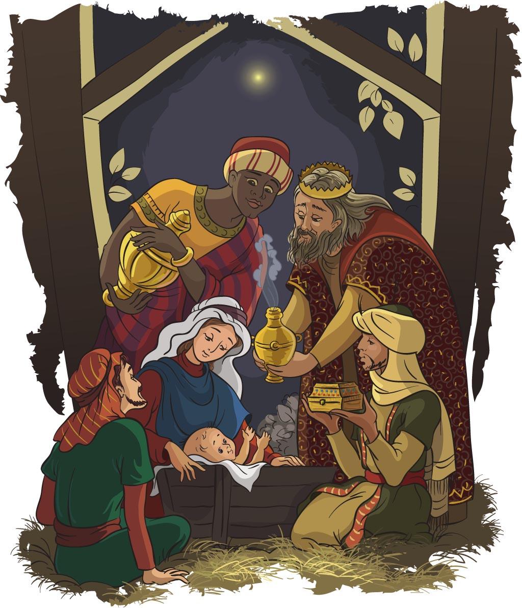 Nativity scene: Jesus, Mary, Joseph and the three kings
