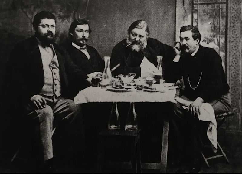 Photographic print with, from left to right : Melchior Seeberger, Maxime Gapany, Gustave Courbet and Louis Weitzel, during a meal in Switzerland, at Bulle
