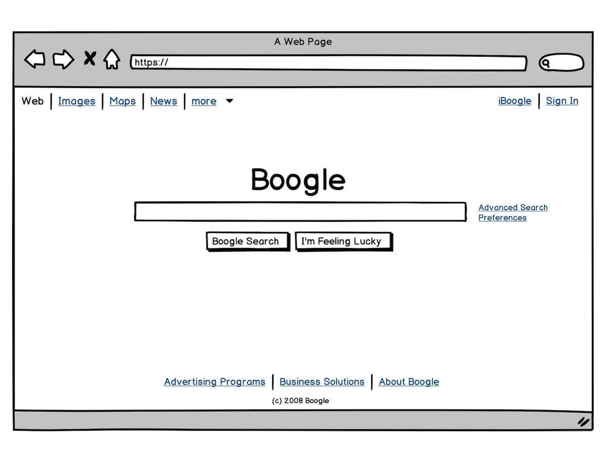Example of a wireframe made in the tool Balsamiq