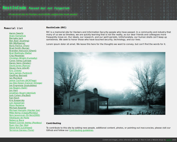 Screenshot of the Rest In Code homepage