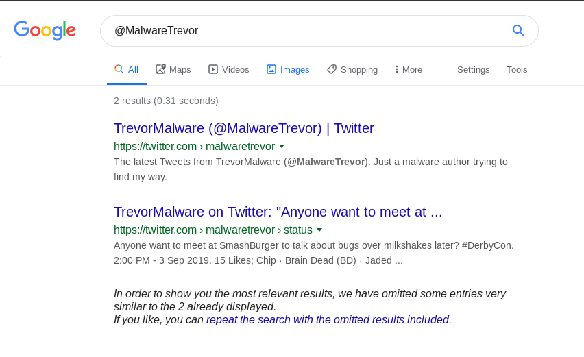 Google search for @MalwareTrevor