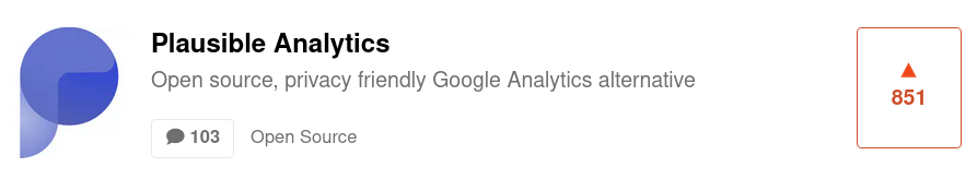 Plausible Analytics Product Hunt listing
