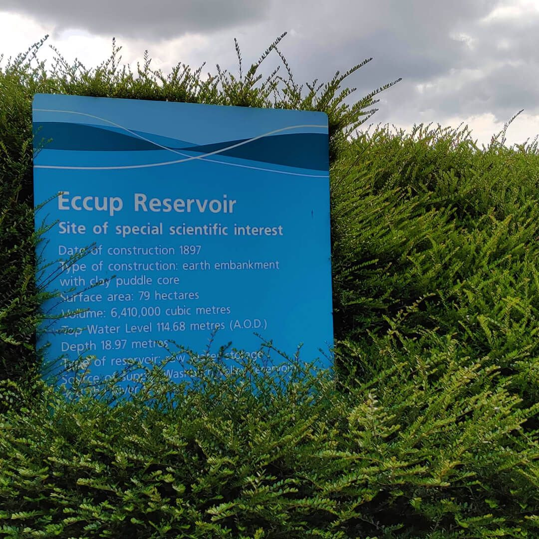 Eccup Reservoir sign