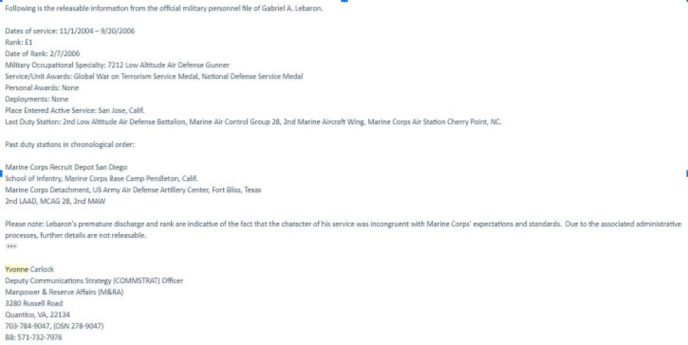 Email from Yvonne Carlock detailing Lebaron's military service record