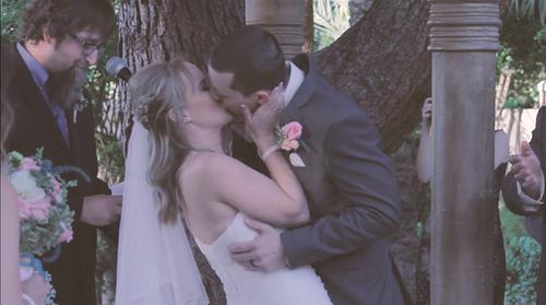 Wedding couple ceremony kiss