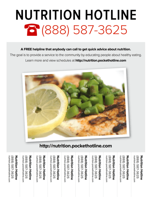 Flyer promoting the Nutrition Hotline