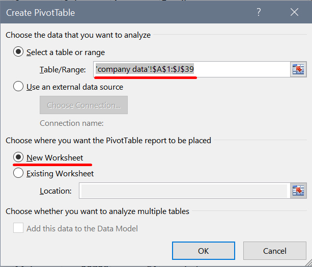 A Microsoft Excel window showing which options to select when inserting a new pivot table