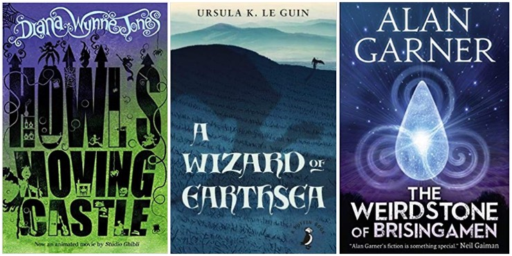 Howl's Moving Castle, A Wizard of Earthsea, The Weirdstone of Brisingamen
