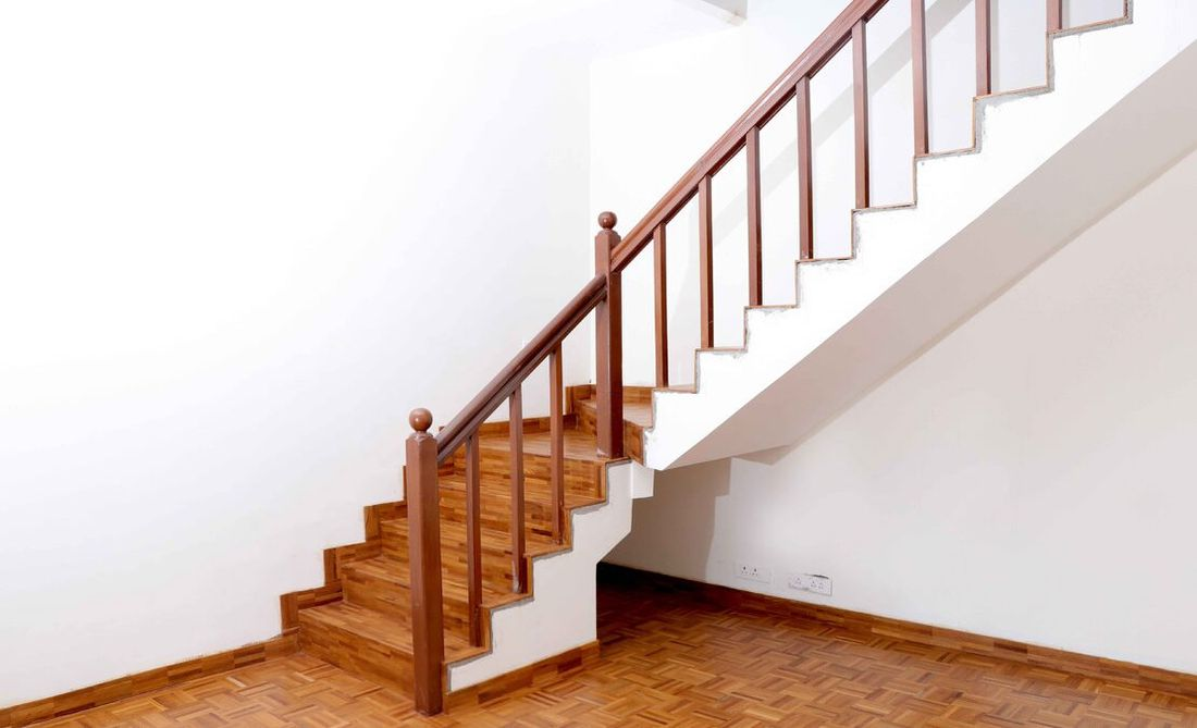 Staircase leading to the family room from the living