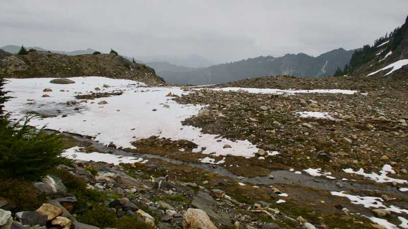 The trail is lost in snow on Fire Creek Pass