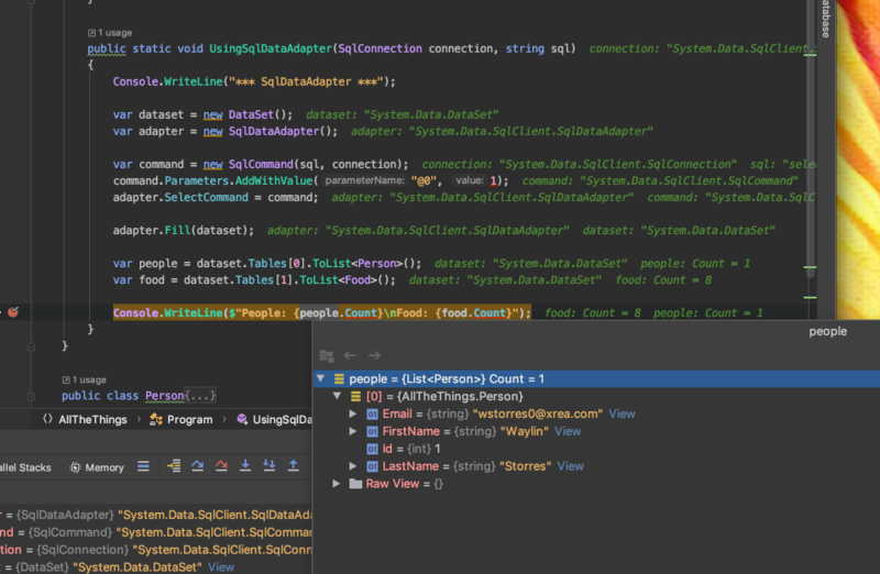 sqldataadapter results in jetbrains rider