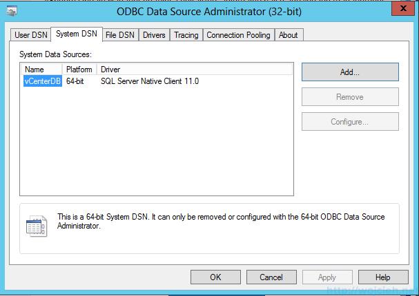 VMware vSphere Update Manager - 32 bit DSN 1