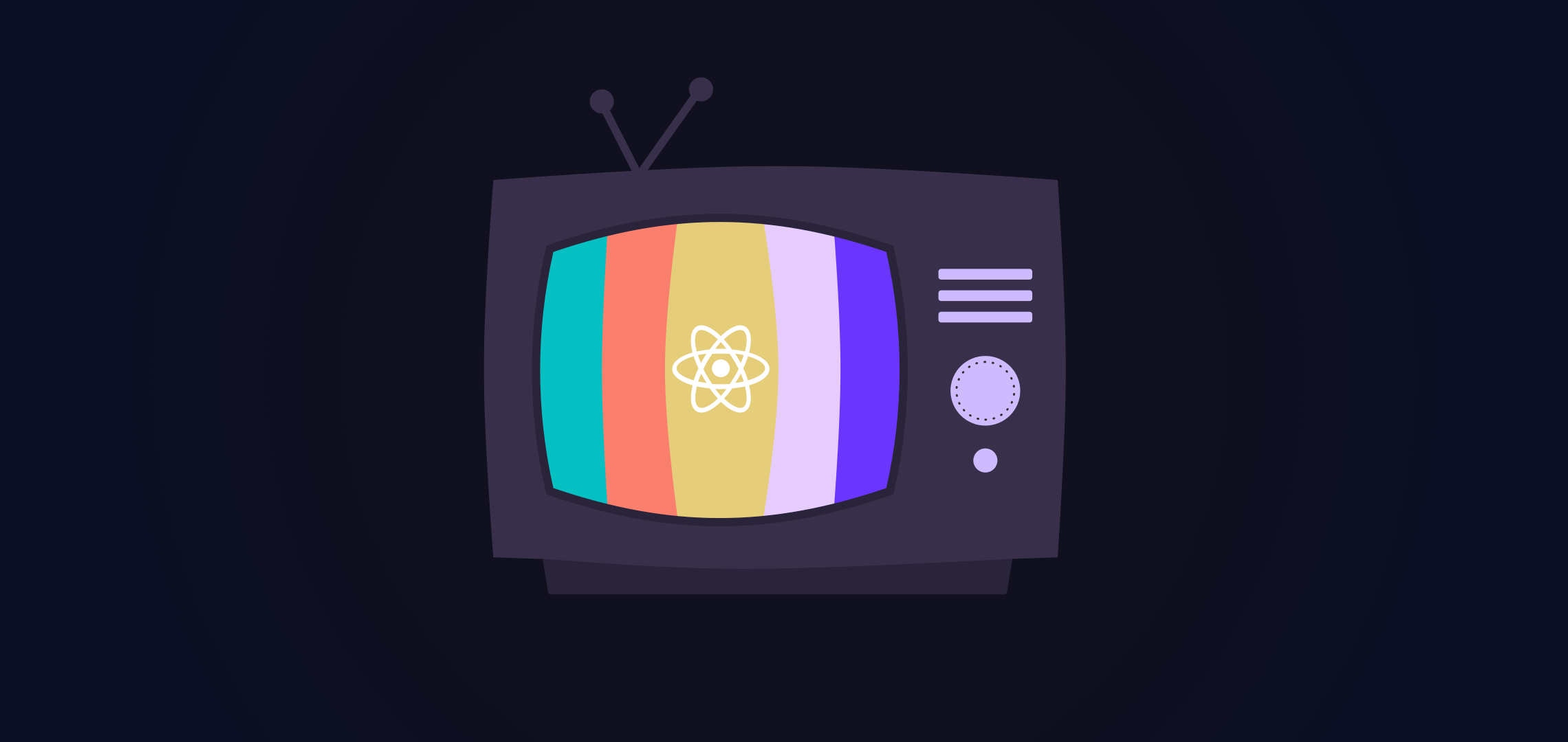 illustration of an old TV with bad signal, transmitting image of react.js logo with mustache