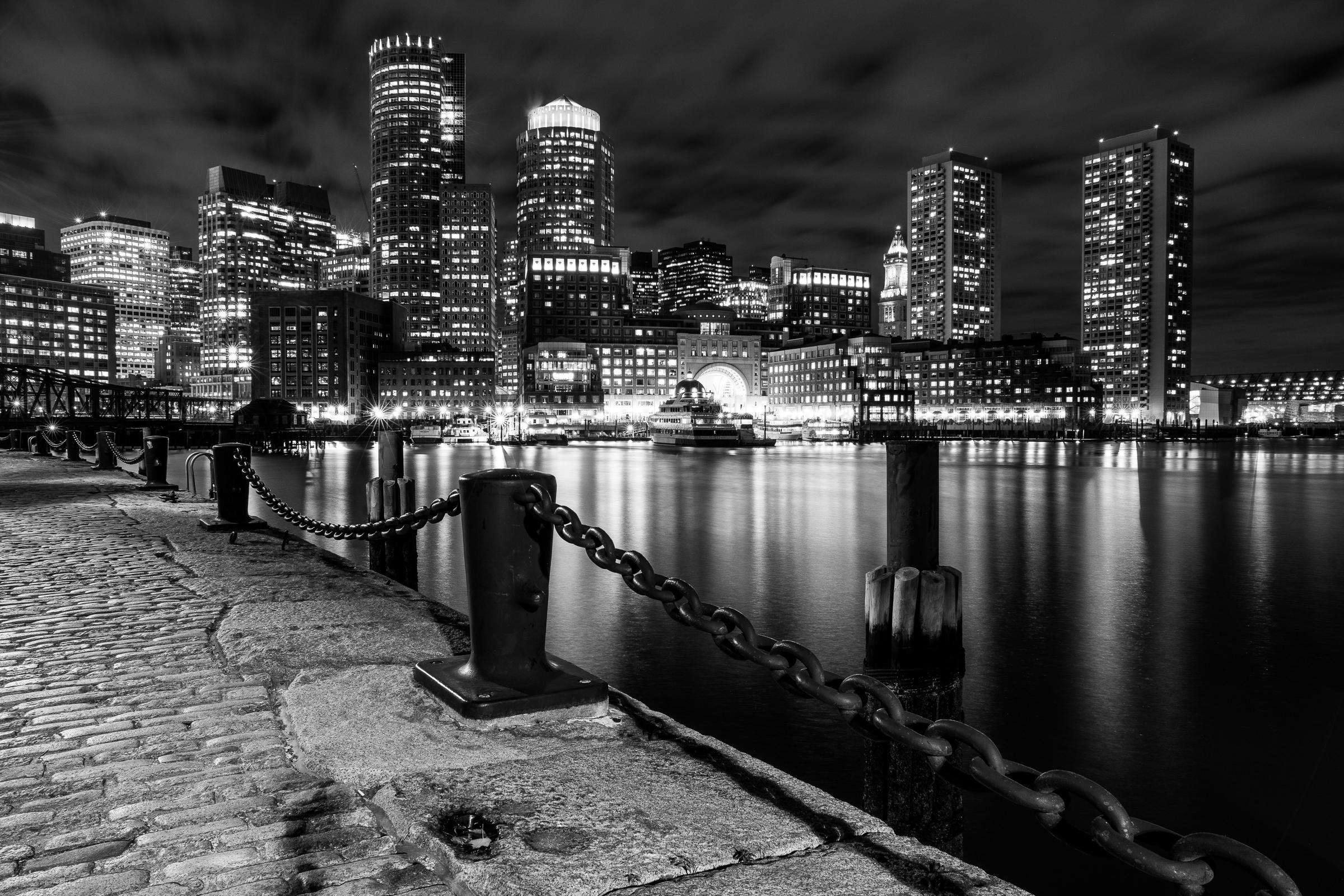 Black and White Boston Harbor Evening