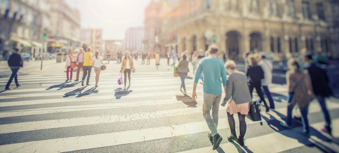 Pedestrians walking in a crosswalk