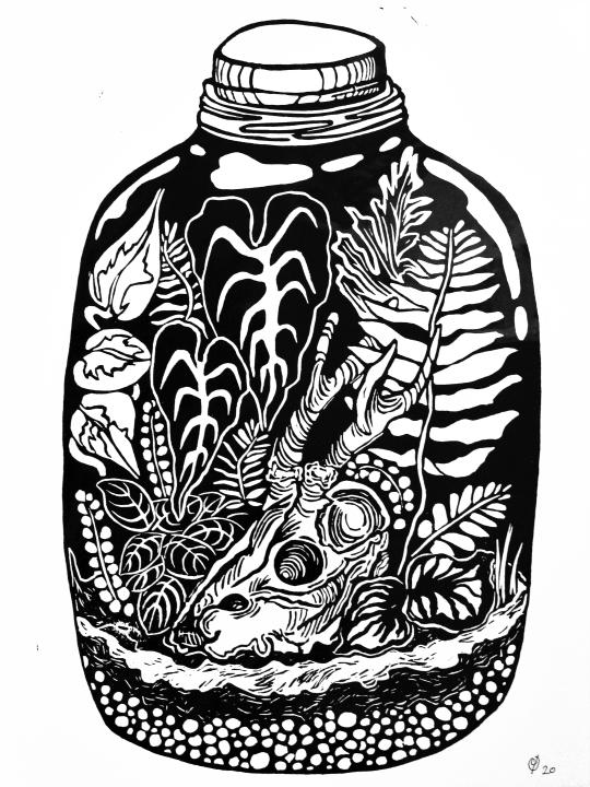 TERRARIUM, linocut print on paper, 2020.