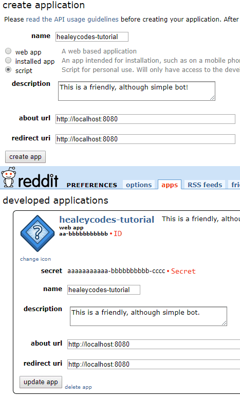 Reddit's Create Application page