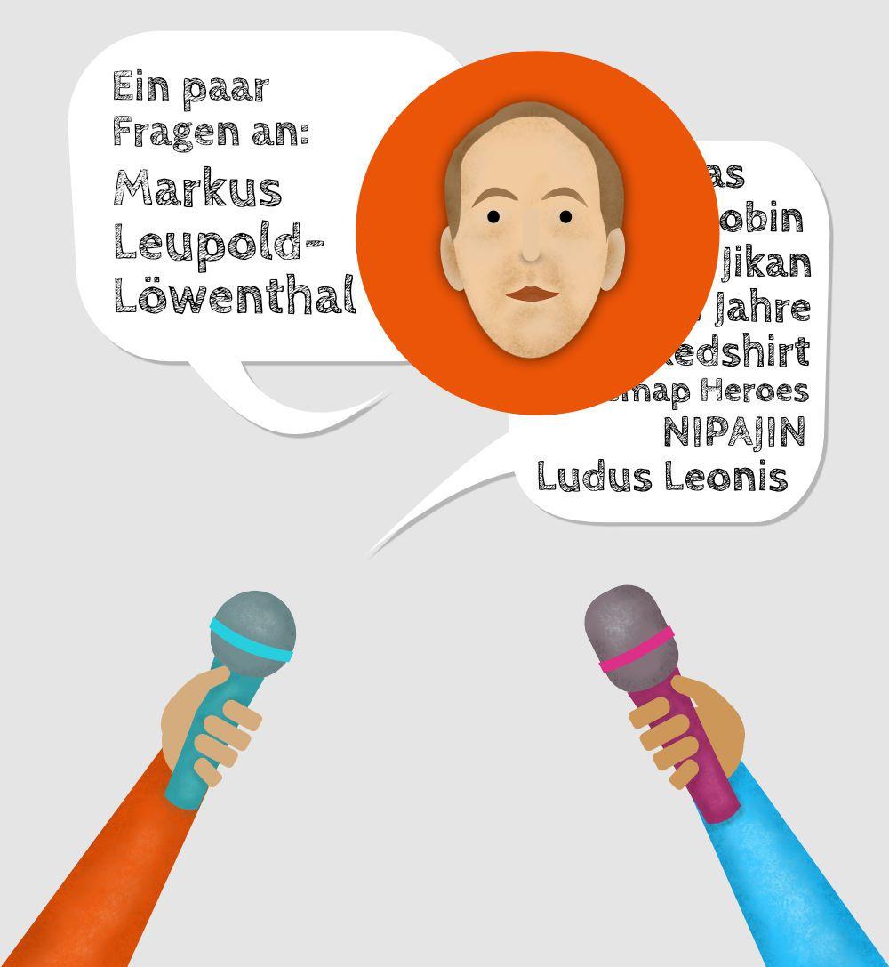 Stilisiertes Porträt von Markus Leupold-Löwenthal umgeben von Mikrofonen
