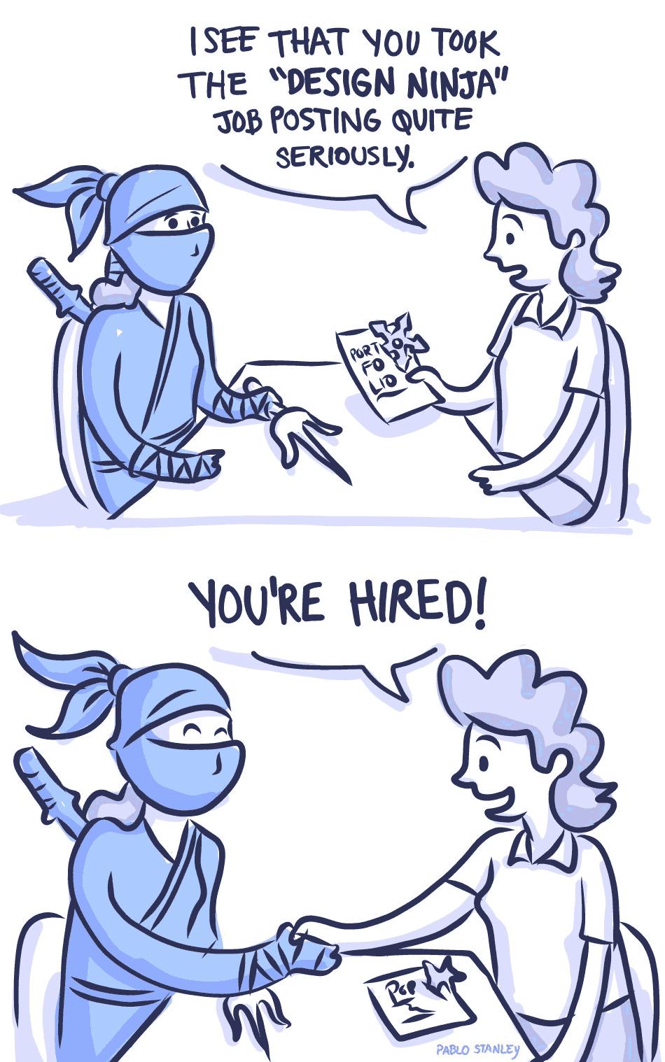 Pablo Stanley comic about a Design Ninja