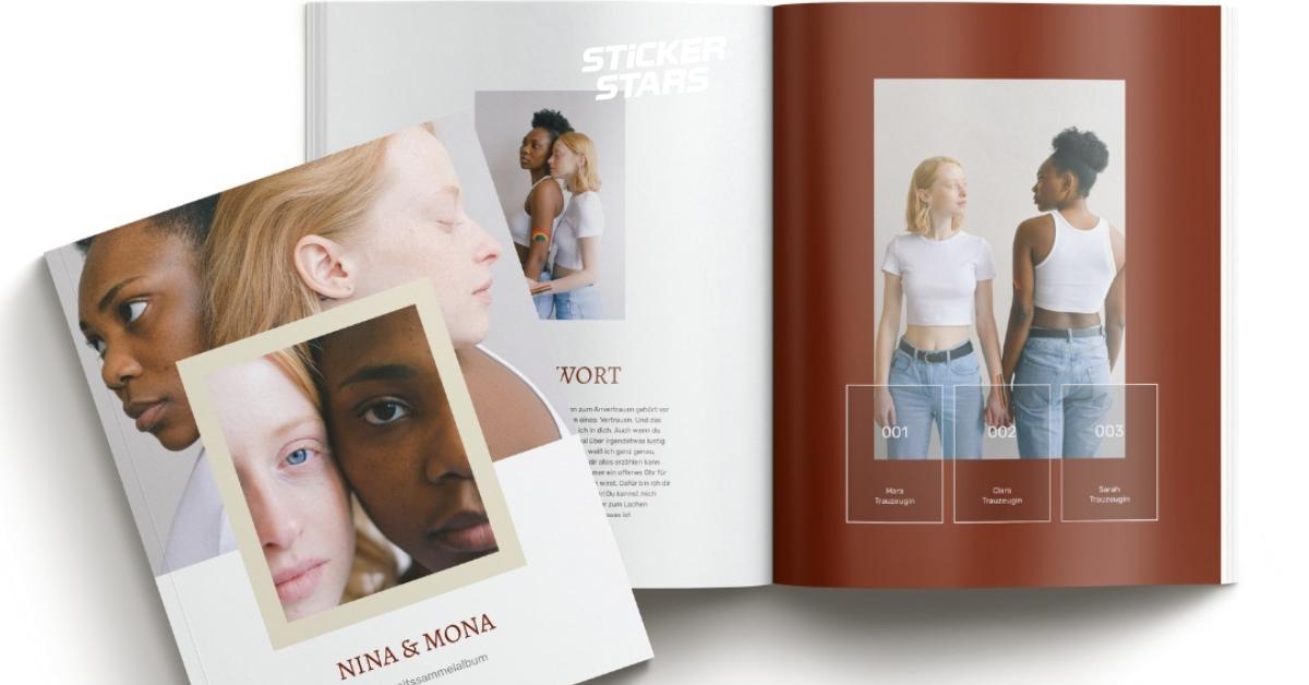Gästebuch für Hochzeit: Ein eigenes Stickeralbum designen
