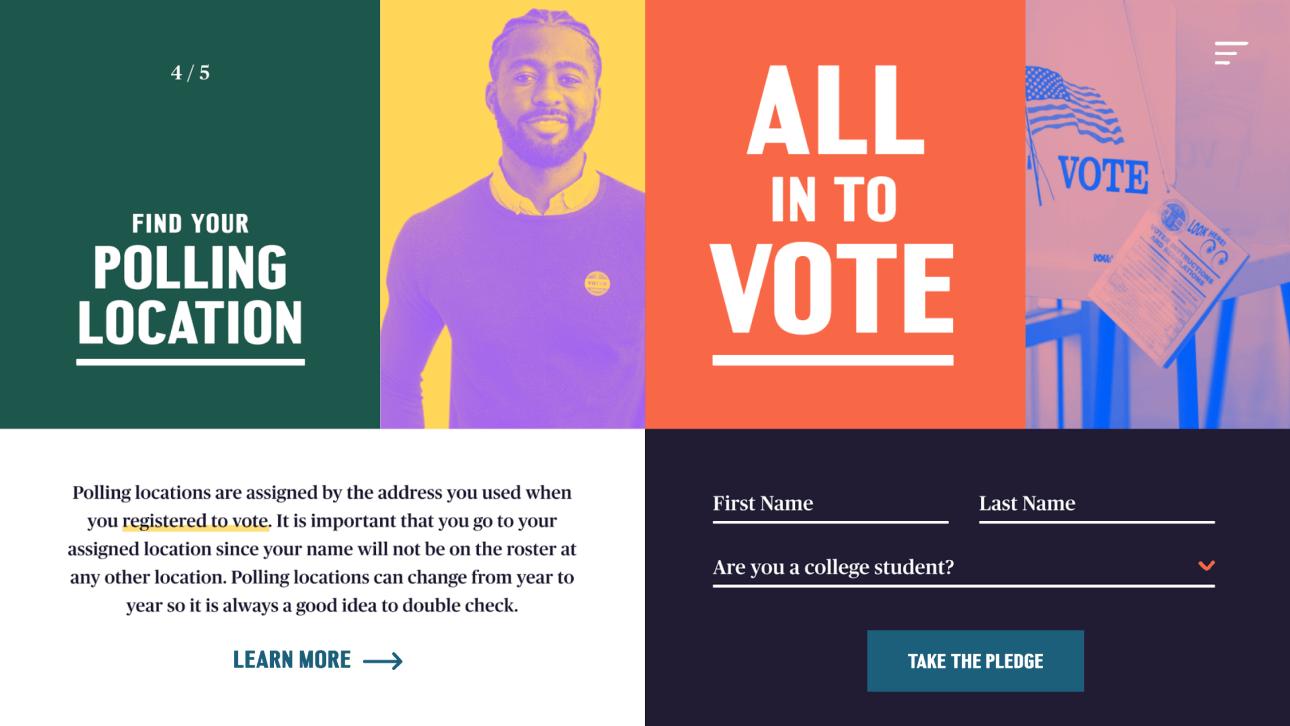 All in to vote website screenshot