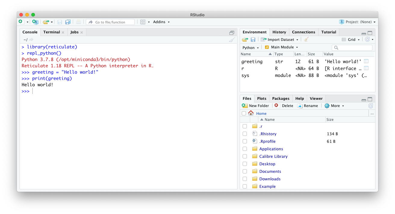 Executing Python code in the RStudio IDE.