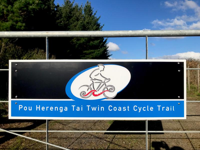 Starting out along the Twin Coast Cycle Trail - only 87 km to go!