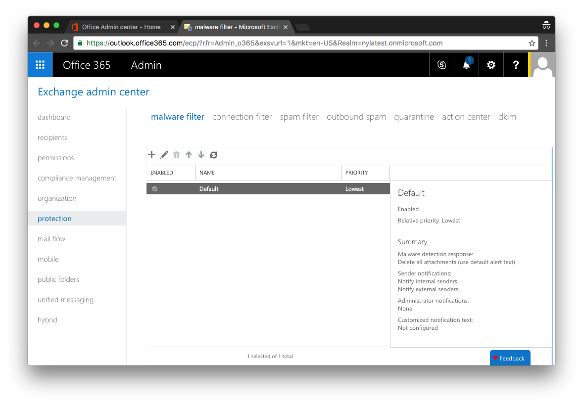Office 365 Malware Settings