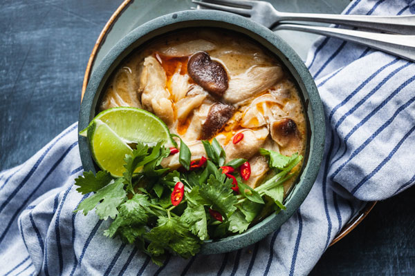 Thai Chicken Coconut And Noodles Soup (Tom Kha Gai)