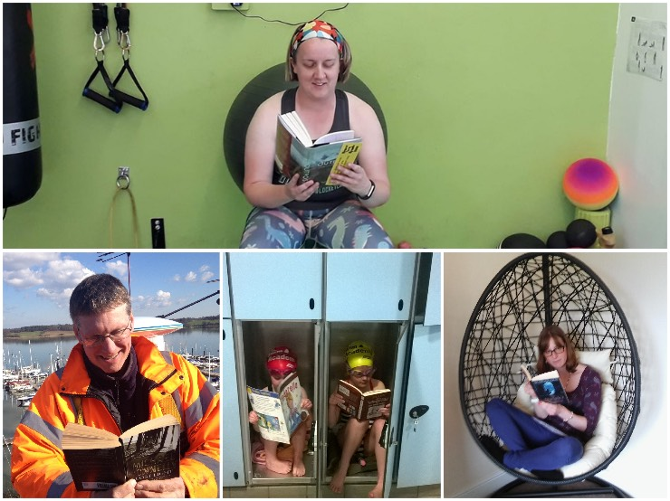 People reading in unexpected places, including a gym, in lockers and on a boat.
