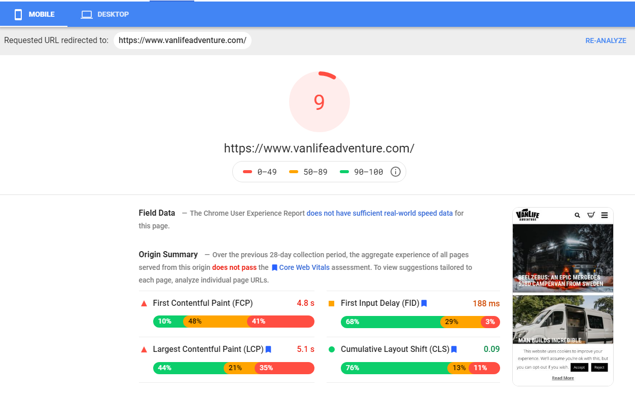Google's PageSpeed Insights