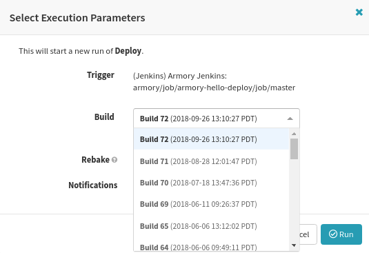 Selecting a build for manual deployment