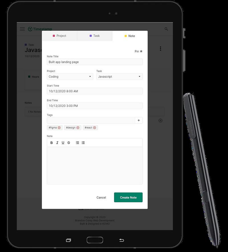 Timestamp create menu