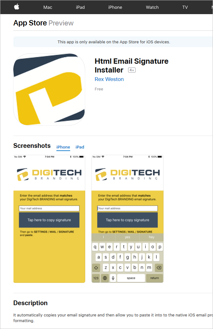 DigiTechBRANDING iOS Mobile App