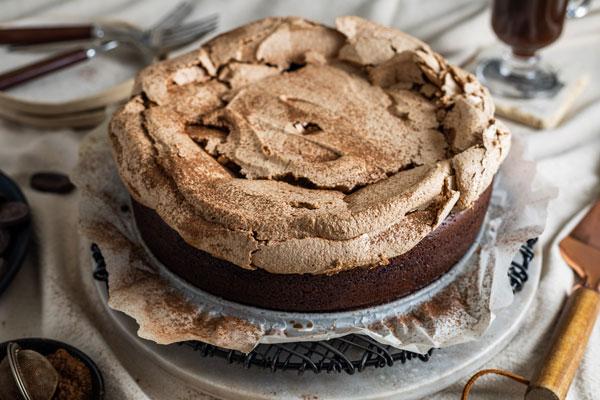 Food Processor Flourless Chocolate Meringue Cake