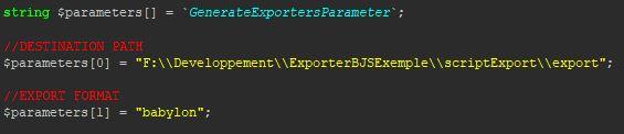 generate export parameter