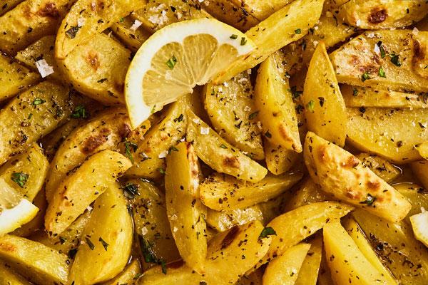 Greek Roasted Lemon Potatoes (lemonates patates)