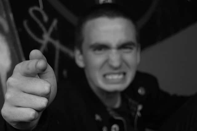 angry man pointing finger
