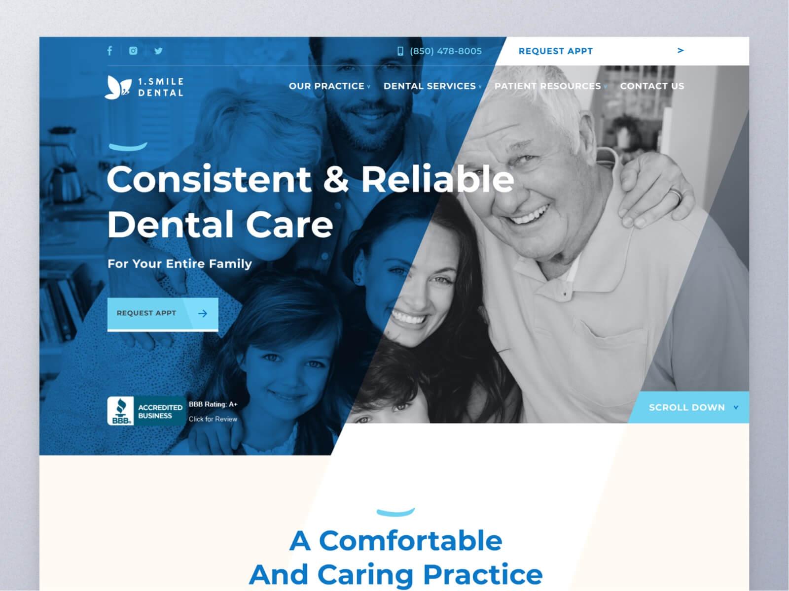 screenshot of One Smile Dental
