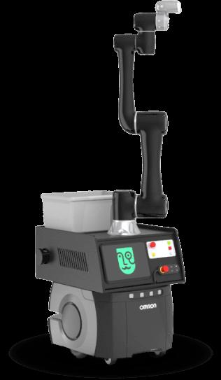 Image du bras robotisé 6axes sur robot mobile.