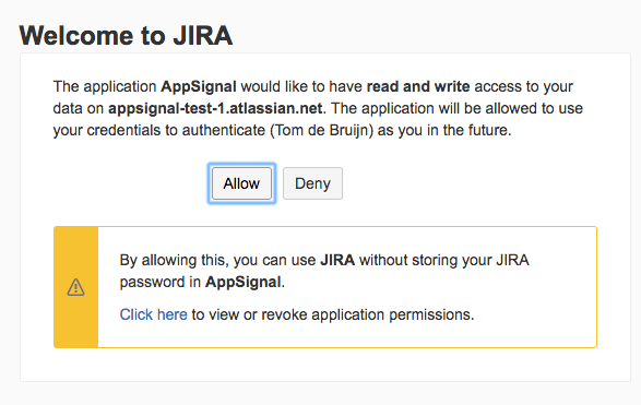 Jira OAuth confirmation