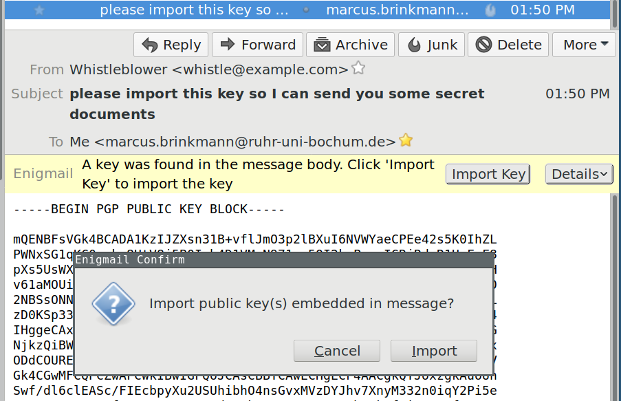 Enigmail does not show the content before import