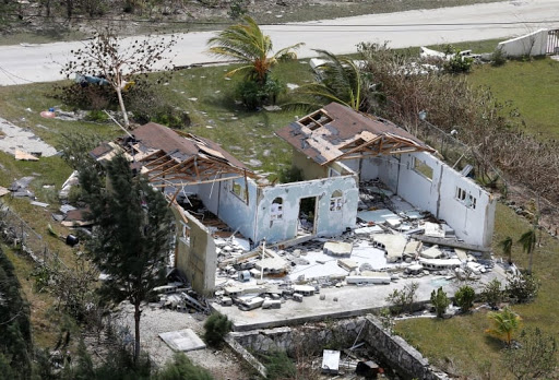 An aerial view shows a destroyed home on Grand Bahama Island