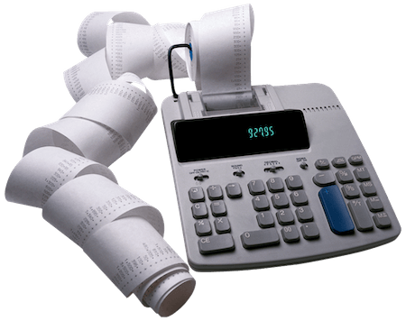 A picture of an old electronic calculator with a long roll of transaction paper spooling out of the top