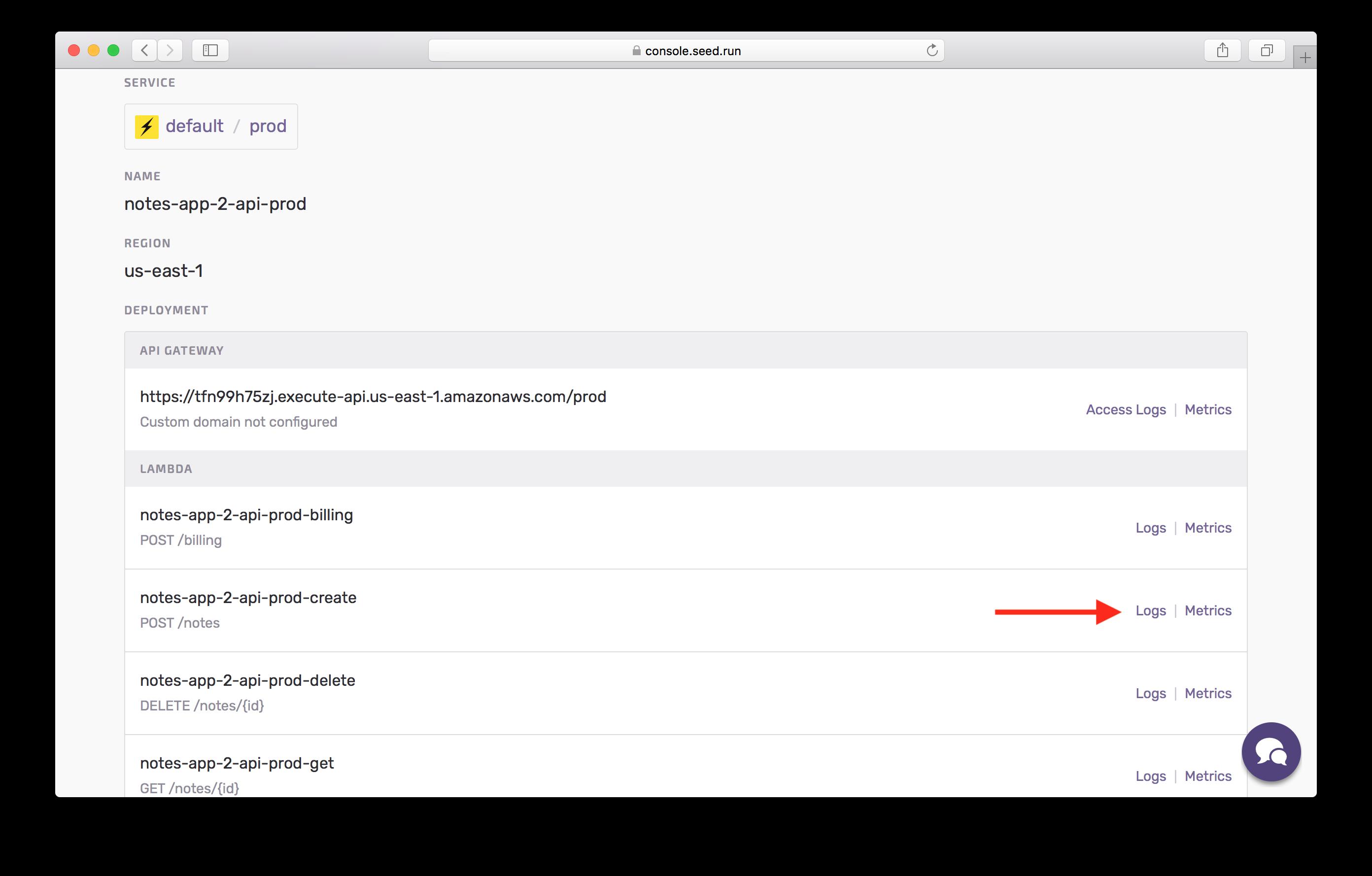 Click lambda logs in prod screenshot