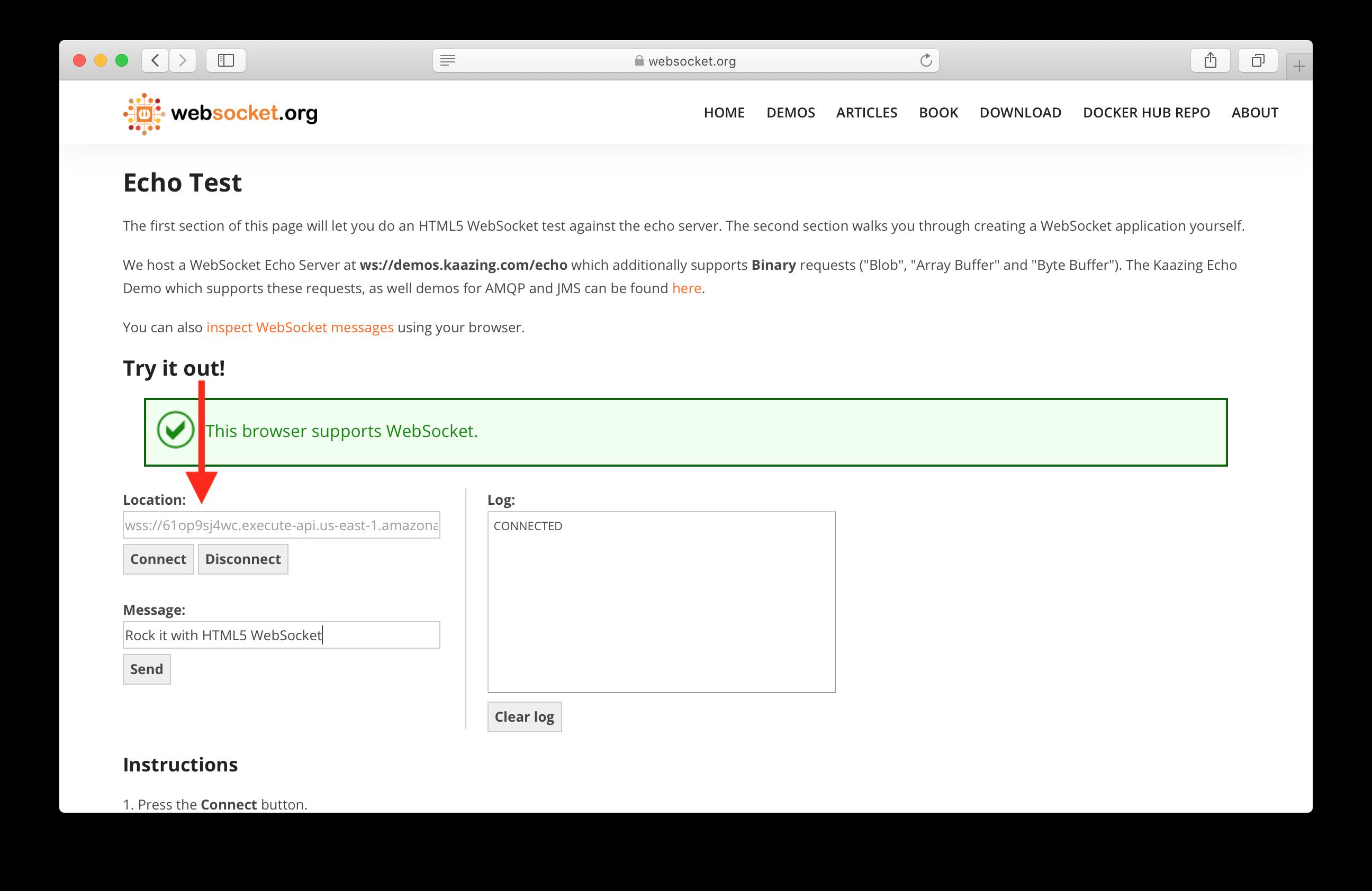 Connect to serverless WebSocket API