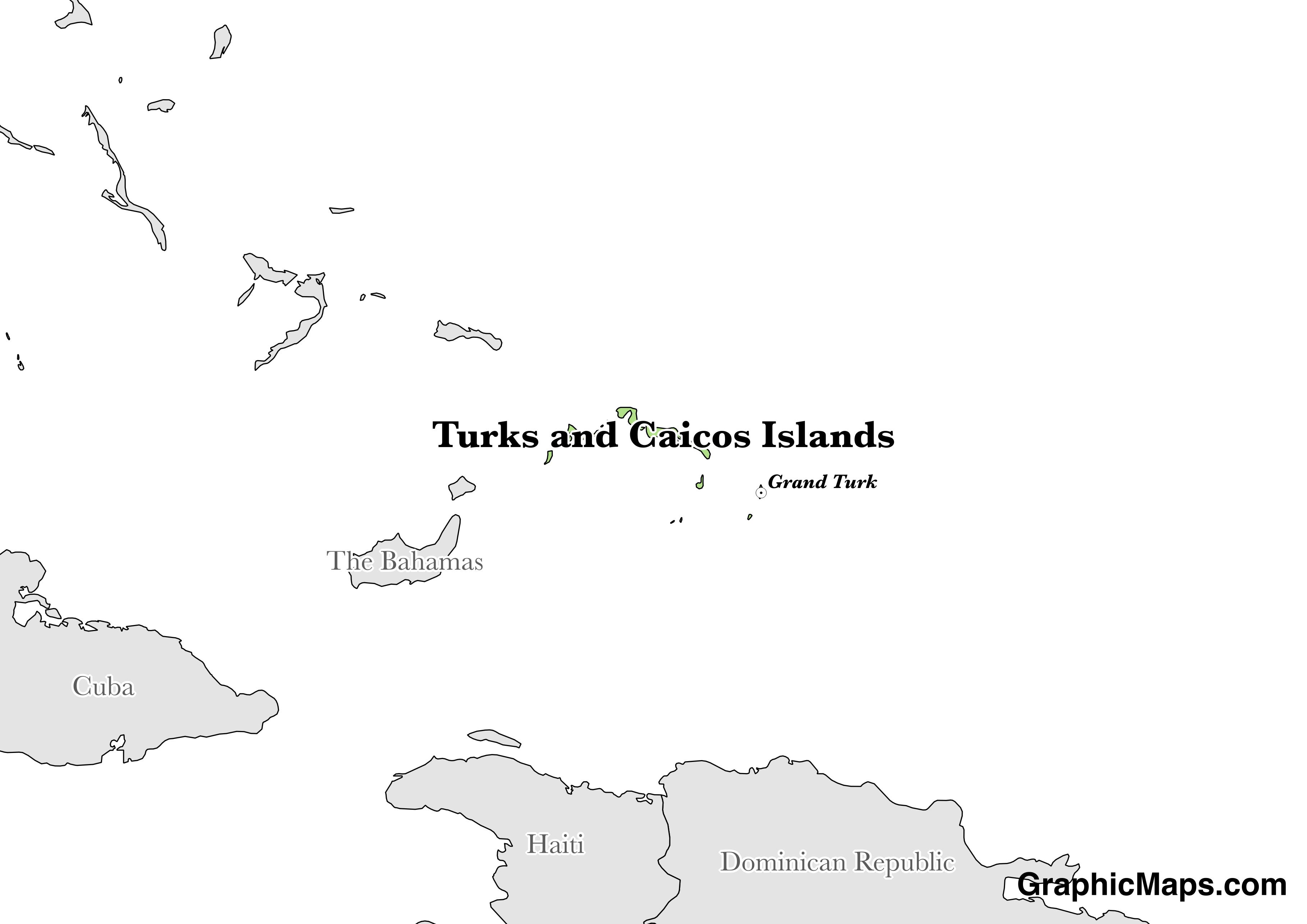 Map showing the location of Turks and Caicos Islands