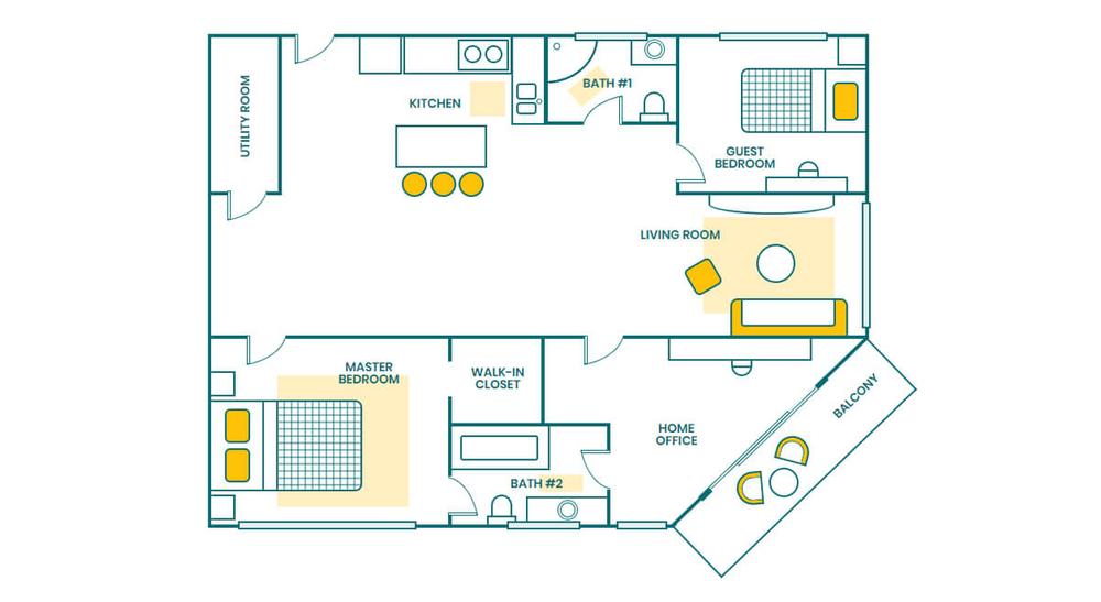 A floorplan of a house created in CSS Grid