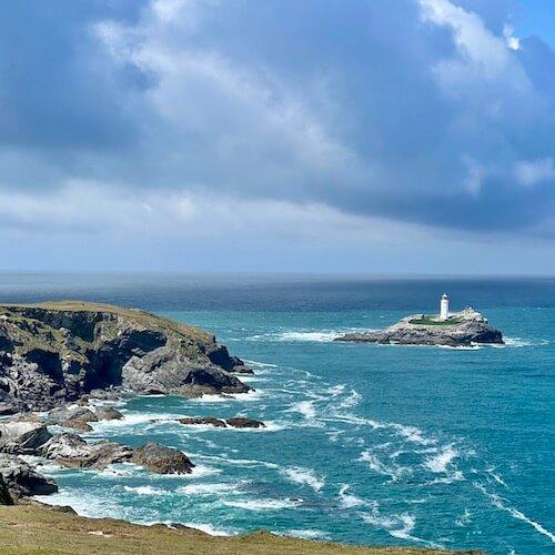 A lighthouse and cliffs near St. Ives.