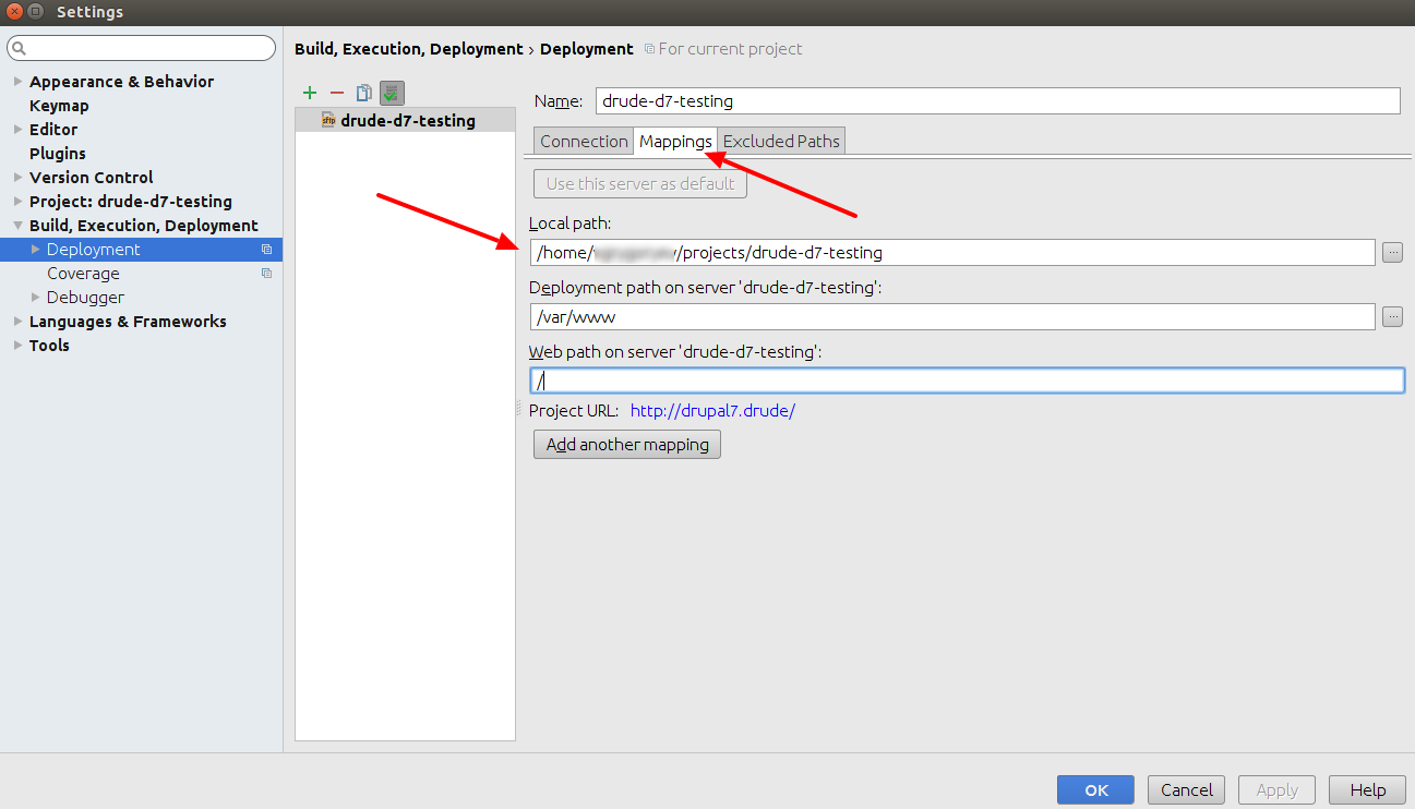 PHPStorm deployment mapping